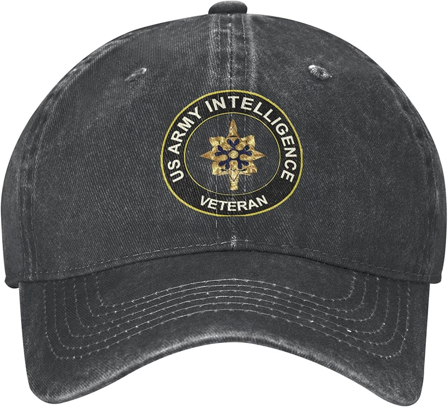 HHDNB US Army Veteran Intelligence Baseball Fitted Cap Cotton Dad Hat Adult Protection for Men Women Black