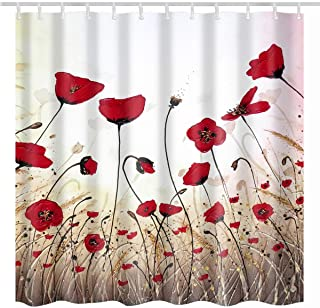 BROSHAN Vintage Shower Curtain Flower, Watercolor Red Poppy Flower Buds Petals Art Print Polyester Waterproof Fabric Bathroom Decor Set with Hooks, 72 x 72 Inch