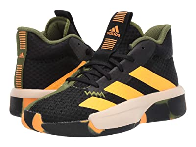 adidas Kids Pro Next Basketball (Big Kid) (Black/Olive/Orange) Kids Shoes