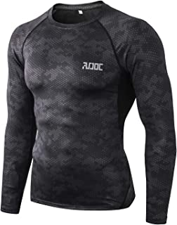Audoc Men's Cool Dry Skin Fitness Long Sleeve Compression Shirt