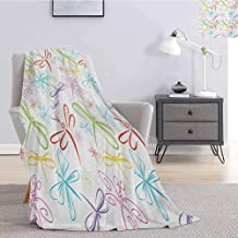 Luoiaax Dragonfly Plush Throw Blanket for Couch Cute Insects Winged Freedom Symbol Colorful Animal Icons Childish Illustration Super Soft Fuzzy Elegant Blanket W57 x L74 Inch Multicolor