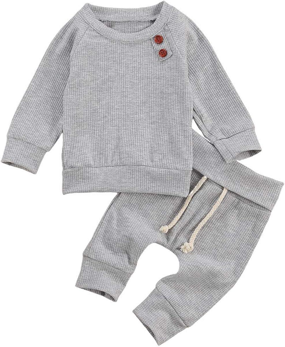 Newborn Baby Boy Girl Ribbed Outfits Long Sleeve Sweatshirt Top Pants Soild Sweatsuit Fall Winter Clothes Set