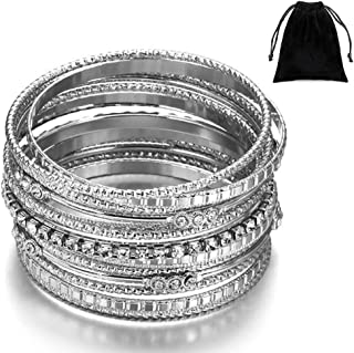 HOUJIN Women's Bangles High Polish 13 Pieces Stainless Steel Stackable Bracelets Bangle Set