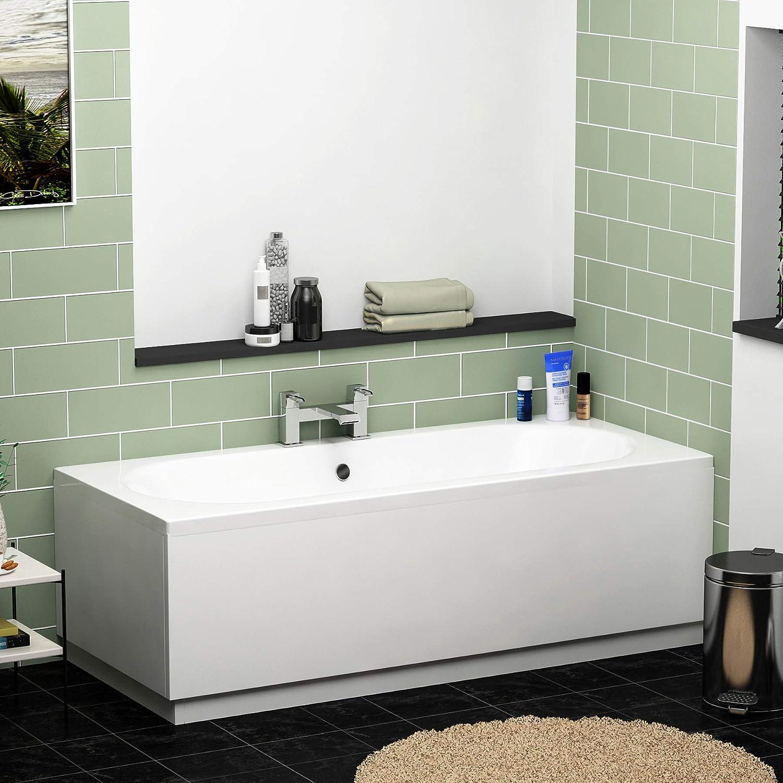 Elena 1700 x 700 Designer Straight Double Ended Acrylic Bath with MDF Front Panel Bathroom Bathtub