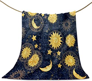 Flannel Fleece Throw Blankets, Boho Chic Golden Sun Moon and Stars Blue Black Sky Antique Style Decorative Blankets, Lightweight Super Soft Luxury Cozy Blanket for Stadium Couch Bed Sofa Chair