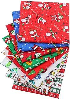 Pacote de tecido de algodão de Natal com 8 peças de tecido acolchoado de costura, retalhos multicoloridos de tecido de ret...