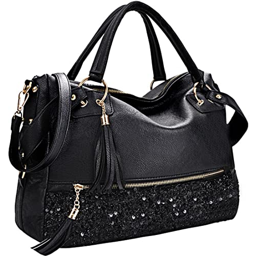COOFIT Black Purse Handbag Hobo Style Sequin PU Leather Shoulder Bag for  Women 00bd7c2aa9c1