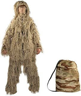 TargetEvo Hunting Ghillie Suit Desert/Woodland Camouflage Clothing includes Jacket Trousers Hood Gun Wrap Drawstring