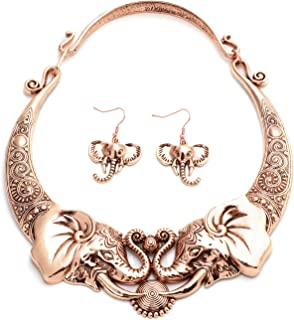 Shop LC Delivering Joy Tribal Boho Elephant Necklace Earrings Jewelry Set Stainless Steel Jewelry for Women(Silver/Gold)