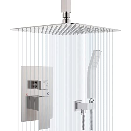 SunCleanse Ceiling Shower System Brushed Nickel Shower Combo Set for Bathroom, Rainfall Shower Faucet Ceiling Mounted Included Rough in Mixer Valve Body and Trim