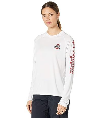 Columbia College Ohio State Buckeyes Collegiate Tidal Long Sleeve Shirt (White/Intense Red) Women