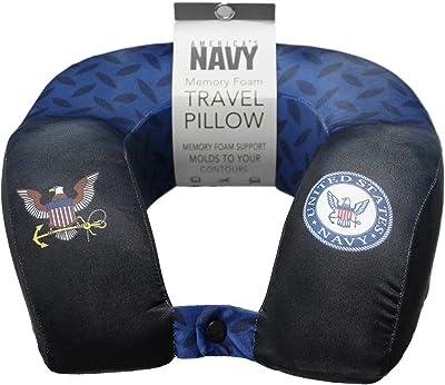 JWM Memory Foam Travel Neck Pillow - Navy