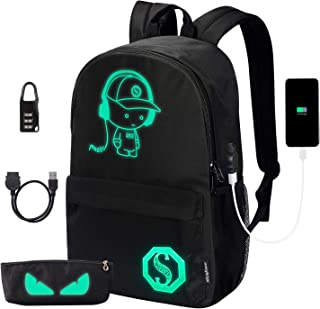 Anime Luminous Backpack Lightweight Laptop Backpack Fashion School Bags Daypack with USB Charging Port, Pen Case and Lock for Teens Girls Boys
