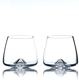 Greenline Goods Whiskey Glasses Set | Large 14 oz Crystal Glass | Hand Blown Set of 2 - Uniquely Designed Bourbon & Scotch Tasting Glasses - Old Fashioned Cocktail Rocks Wisky Glasses