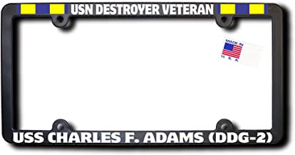 USN Destroyer Veteran USS CHARLES F. ADAMS (DDG-2) License Frame w/REFLECTIVE TEXT and Navy Expeditionary Ribbons