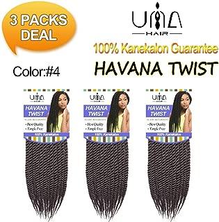 UNA 12inch Senegalese Twist Crochet Hair Short Braids Small Havana Mambo Twist Crochet Braiding Hair Senegalese Twists Hairstyles For Black Women 22strands/pack (3piece, 4#)