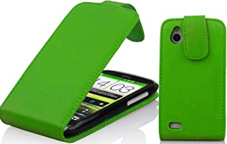 Cadorabo Case works with HTC DESIRE X in APPLE GREEN - Flip Style Case made of Smooth Faux Leather - Wallet Etui Cover Pou...