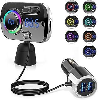 comprar comparacion Transmisor FM Bluetooth 5.0 para Coche, 2 USB Carga Rápido QC 3.0 y 5V 2.4A, Manos Libres Reproductor MP3 Coche, Adaptador...