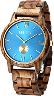 wood watch blue face