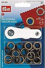 PRYM Oogjes Plus sluitringen, metaal, antiek messing, 11 mm, 15