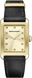 Rebecca Minkoff Women's Stainless Steel Quartz Watch with Leather Calfskin Strap, Black, 20 (Model: 2200065)