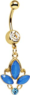 Gold PVD Steel Clear Blue Accent Fleur de Lis Dangle Belly Ring