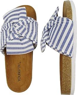Summer Footbed Slide Sandals for Women/Cork Sole/Knot Bow/Womens Slides
