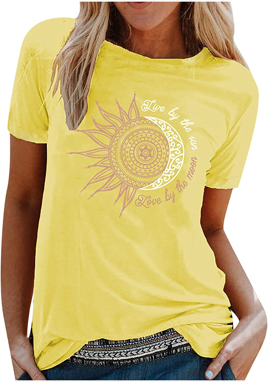 Summer Casual Loose Fit T Shirt for Women Sun Printing Short Sleeve Solid Blouse Tunic Tops