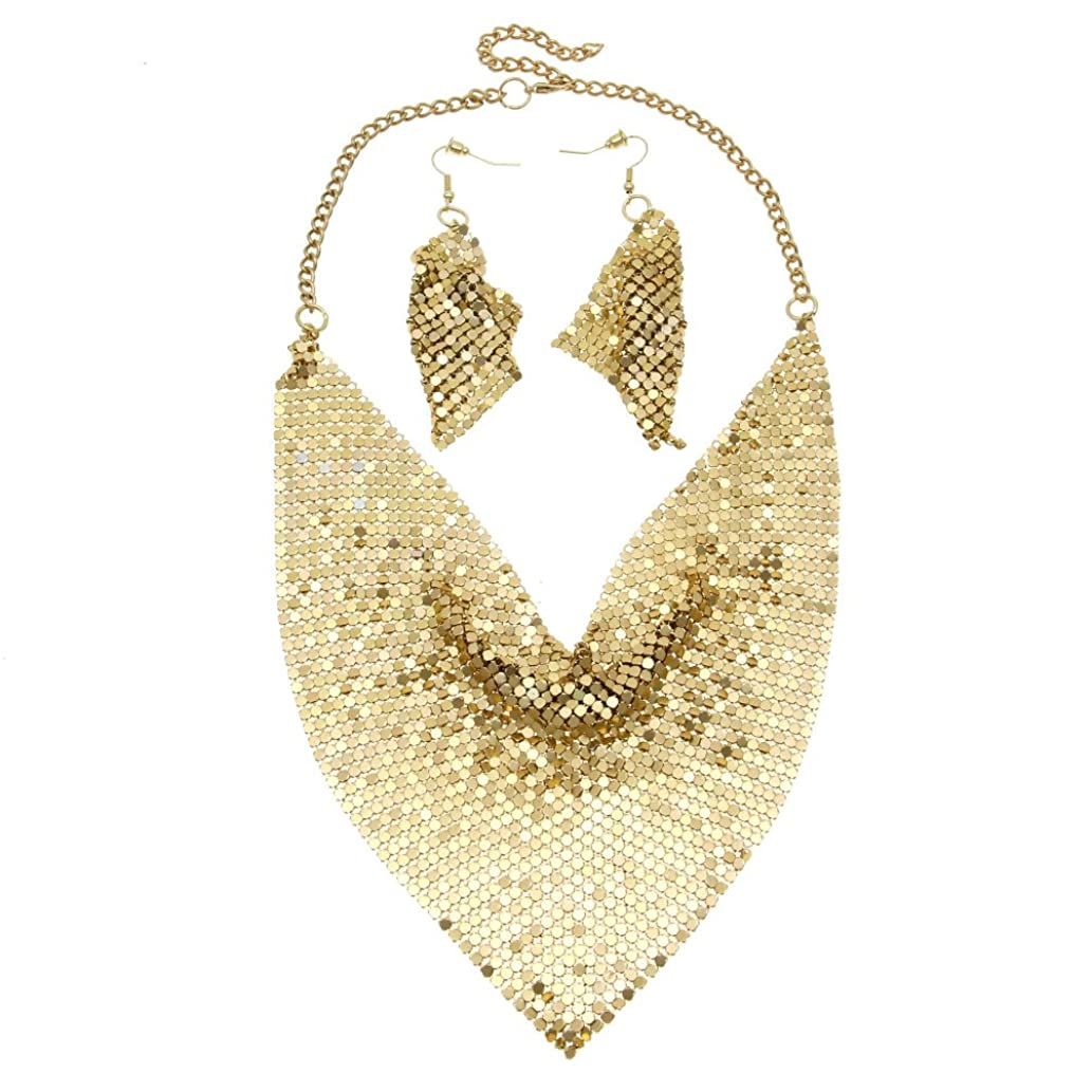 MANILAI Indian Style Shining Metal Slice Bib Choker Necklaces Earrings Sets Women Party Fashion Jewelry