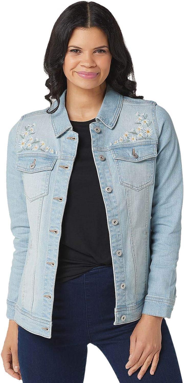 Denim & Co. Womens Embroidery Denim Jacket Medium Bleach Wash A353978