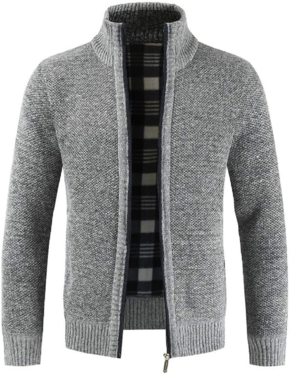 CHARTOU Men's Chunky Stand Collar Zip-Up Fleece Lined Knitted Sweater Jacket