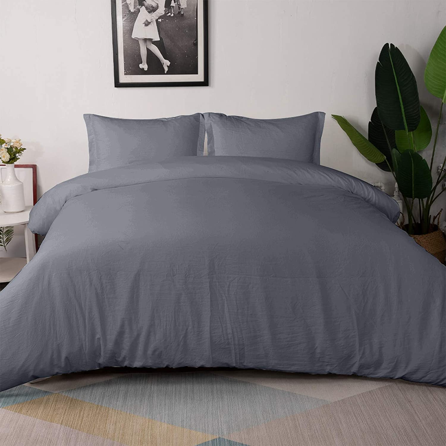 Vailge 3-Piece Duvet NEW before selling ☆ Cover A surprise price is realized Set Washed Queen Size 100% Microfibe