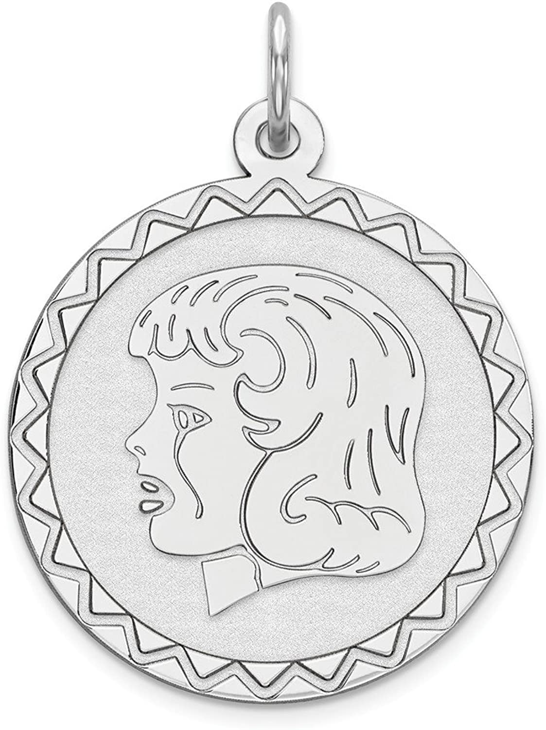 Beautiful Sterling silver 925 sterling Sterling Silver Rhodiumplated Engraveable Girl Disc Charm