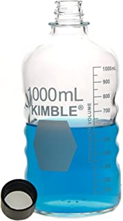 Kimble Chase KIMAX 61110R-1000 USP Type I Glass Screw Thread Storage/Media Bottles with Rubber-Lined Phenolic Closure, 1L (Case of 12)