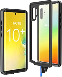 Justcool Galaxy Note 10+ Pro/Plus/5G Case, Rugged 360 Full-Body with Built-in Screen Protector Heavy Duty Protection Dustproof Shockproof Case for Samsung Galaxy Note 10 Plus Case 2019 (Black+Clear)