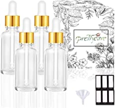 PrettyCare Eye Dropper Bottle 1 oz (4 Pack Clear Glass Bottles 30ml with Golden Caps, 1 Extra Plastic Measured Pipettes, 12 Labels, Funnel) Empty Tincture Bottles for Essential Oils