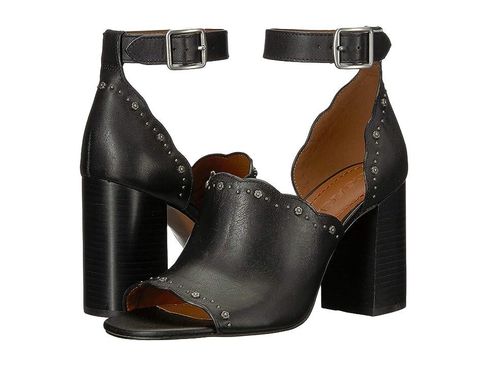 COACH Marnie Block Heel Shootie with Tea Rose Studs (Black Leather) Women
