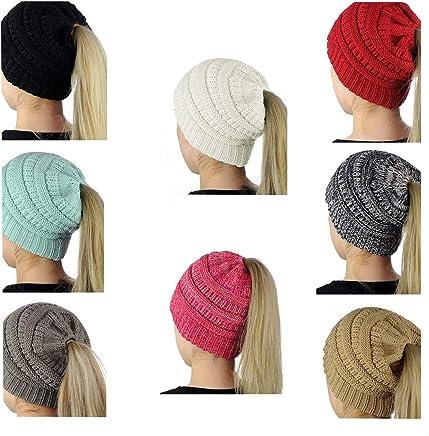 SEALEN Beanie Tail Womens Soft Stretch Trendy Warm Winter Messy High Bun Ponytail Hat