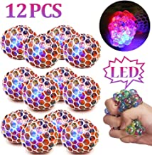 ZGWJ 12 Pack Anti-Stress Ball LED Mesh Squeeze Ball Toys Home and Office Use Stress Relief Toys for Kids Adults (mesh Stress Ball) (led Stress Ball)