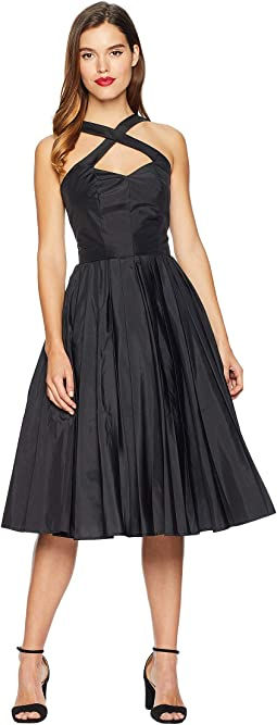 1950s Style Taffeta Cross Halter Joy Party Dress