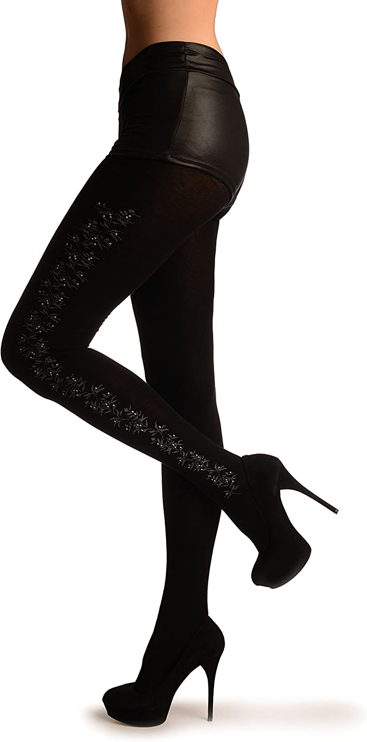 Black Thick Cotton With Grey & White Flowers Side Seam - Pantyhose (Tights)