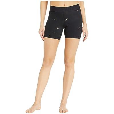 Nike Pro All Over Print Metallic Swoosh Shorts 5 in. (Black) Women