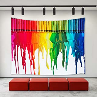 LBKT Wall Hanging Tapestry Colorful Rainbow Crayon Painting Art Home Decoration Wall Tapestries for Bedroom Living Room Dorm Decor 60