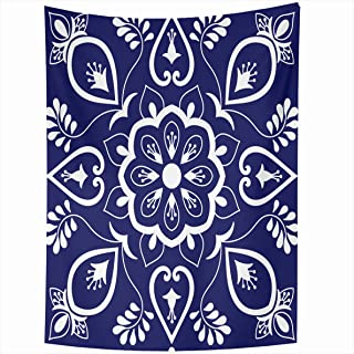 Ahawoso Tapestry 60x80 Inches Blue White Floral Motifs Portuguese Azulejo Mexican Talavera Wall Hanging Home Decor Tapestries for Living Room Bedroom Dorm