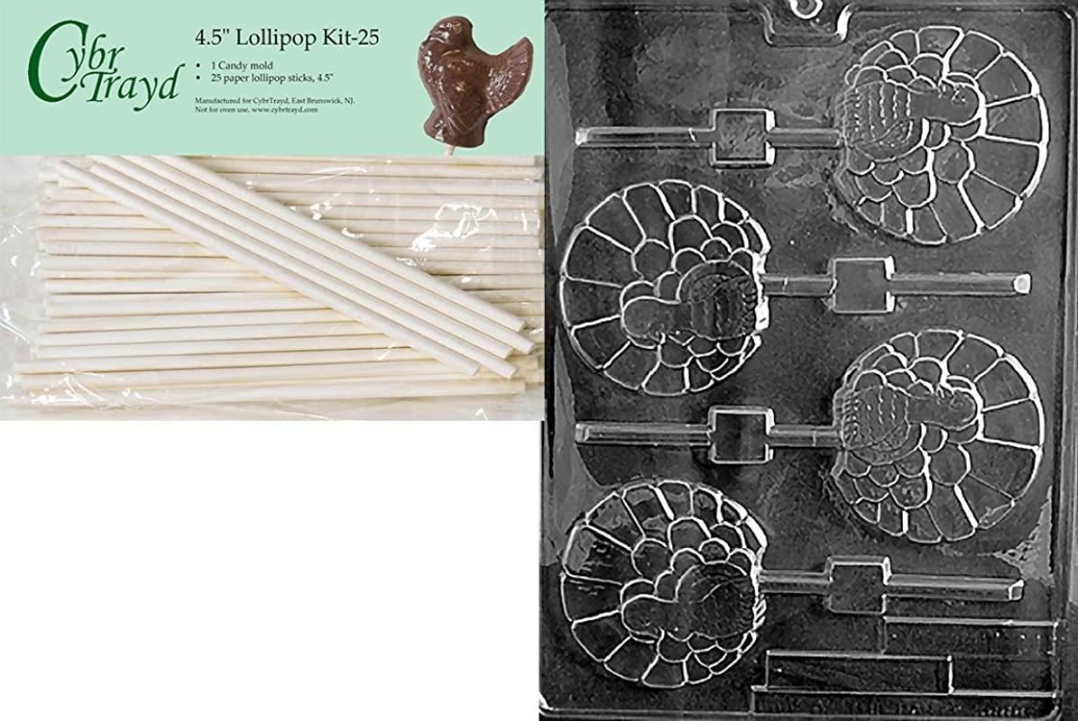 Cybrtrayd 45St25 T011 Fancy Turkey Lolly Thanksgiving Chocolate Candy Mold With 25 Pack 4 5 Inch Lollipop Sticks