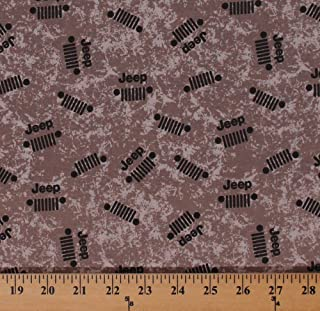 Cotton Jeeps Jeep Grille Logos Cars Sports Vehicles Logos Allover on Brown Cotton Fabric Print by The Yard (c6473-brown)