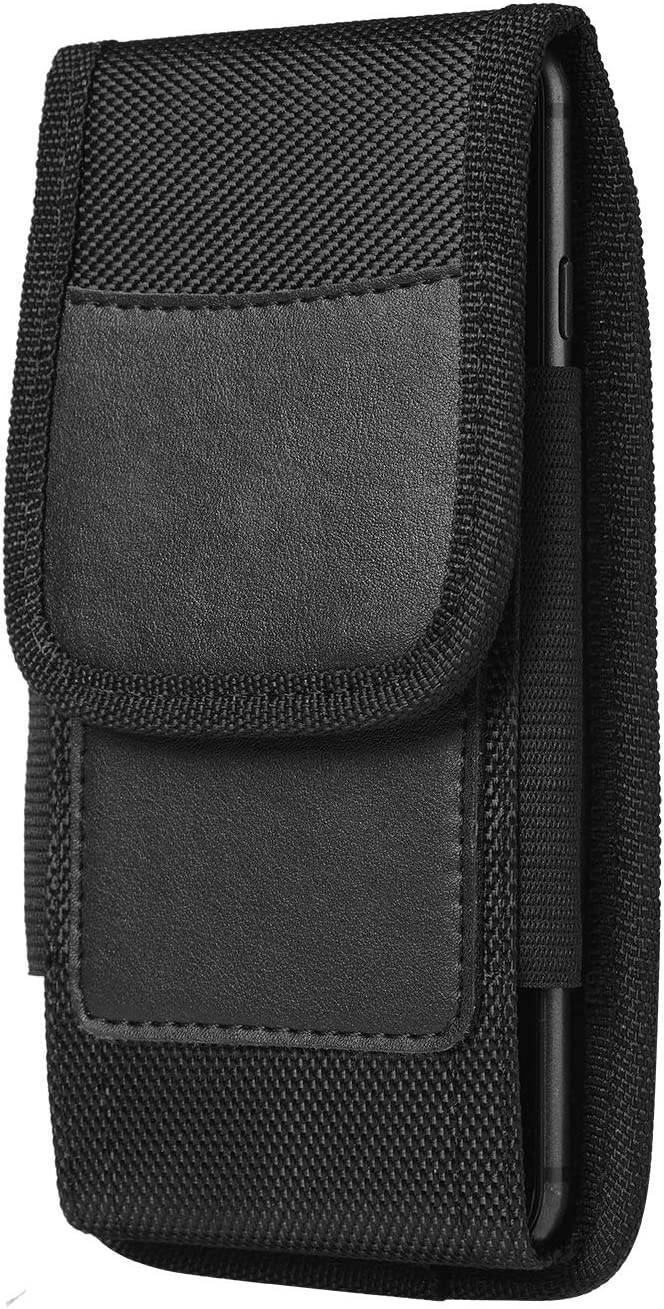 Vertical Cell Phone Holster Nylon Hybird Belt Clip and Loop Pouch for iPhone 12 Mini, iPhone SE 2020, iPhone 8, 7 Samsung Galaxy S10e A01, Google Pixel 5 4a 4 3a 3 (S)