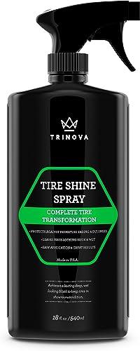 TriNova Tire Shine Spray No Wipe - Automotive Clear Coat Dressing for Wet & Slick Finish - Keeps Tires Black - with R...