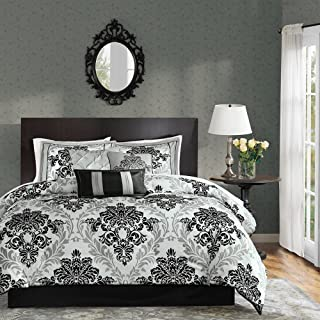 Madison Park 7 Piece Black and White Damask Floral Medallion Bedding QUEEN Comforter