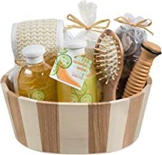 Wooden Massage and Reflexology Kit for Women: At-Home Spa Kit for All-Over Body Relaxation and Rejuvenation with Fresh Cucumber Melon Aromatherapy Bath and Body Gift Set